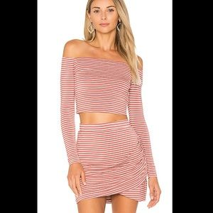 Lovers + friends megan crop top small striped pink